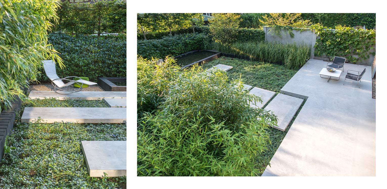 Bamboe, rhodowal en Vinca minor in patiotuin Diepenveen. Het in de woning toegepaste beton is consequent in de buitenruimte doorgetrokken - mede als podium voor kunst - Denkers in Tuinen