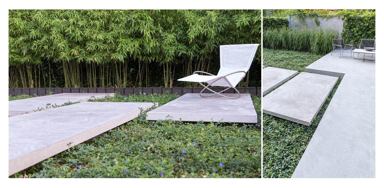 Bamboe en Vinca in patiotuin Diepenveen. Het in de woning toegepaste beton is consequent in de buitenruimte doorgetrokken - mede als podium voor kunst - Denkers in Tuinen