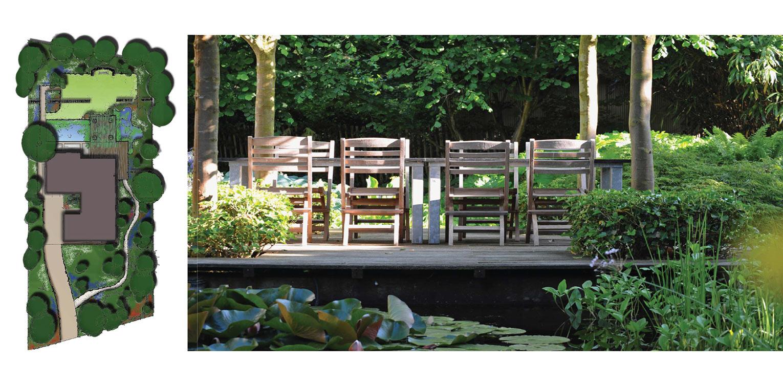 schetsontwerp villatuin Warnsveld. Helderheid rust en eenvoud kenschetsen dit tuinontwerp, waarbij de beplanting een tijdloze, groene hoofdrol vervuld. Denkers in Tuinen.