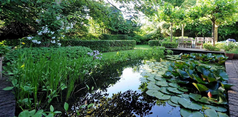 vijver villatuin Warnsveld. Helderheid rust en eenvoud kenschetsen dit tuinontwerp, waarbij de beplanting een tijdloze, groene hoofdrol vervuld. Denkers in Tuinen.