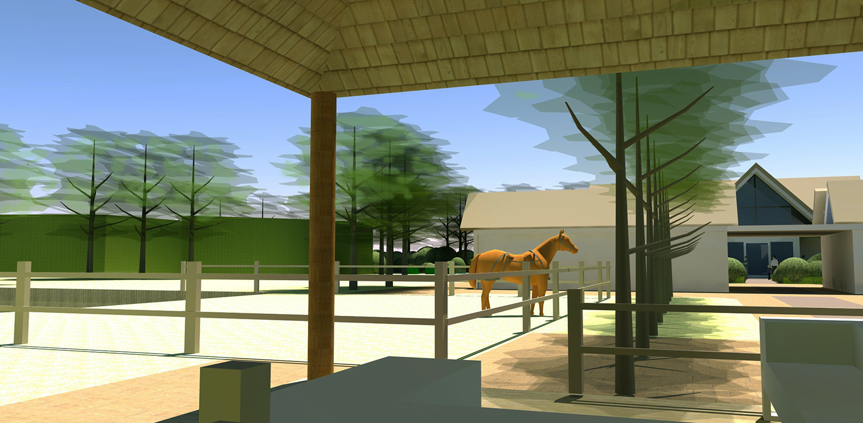 3D gazebo overkapping boerderijtuin Beek, de openheid van het Montferland komt tot ver op de terrassen en waar contact met de paarden maximaal mogelijk is Denkers in Tuinen.
