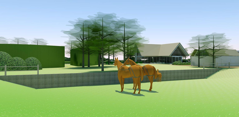 3D haha boerderijtuin Beek, de openheid van het Montferland komt tot ver op de terrassen en waar contact met de paarden maximaal mogelijk is Denkers in Tuinen.