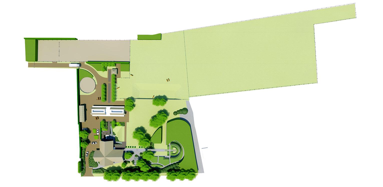 schetsontwerp boerderijtuin Beek, de openheid van het Montferland komt tot ver op de terrassen en waar contact met de paarden maximaal mogelijk is Denkers in Tuinen.