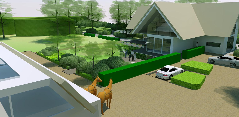 3D vogelvlucht boerderijtuin Beek, de openheid van het Montferland komt tot ver op de terrassen en waar contact met de paarden maximaal mogelijk is Denkers in Tuinen.