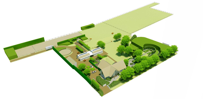vogelvlucht 3D boerderijtuin Beek, de openheid van het Montferland komt tot ver op de terrassen en waar contact met de paarden maximaal mogelijk is Denkers in Tuinen.