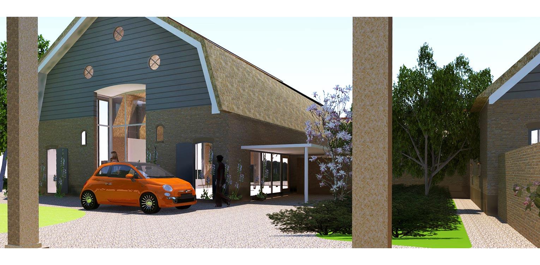 3D binnenplaats boerderijtuin Loo. Deze klassieker, huize valkenhof uit het landelijke Loo wordt met de tuin na een periode van leegstand gerehabiliteerd. denkers in Tuinen