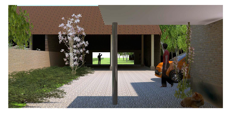 3D doorzicht kapschuur boerderijtuin Loo. Deze klassieker, huize valkenhof uit het landelijke Loo wordt met de tuin na een periode van leegstand gerehabiliteerd. denkers in Tuinen