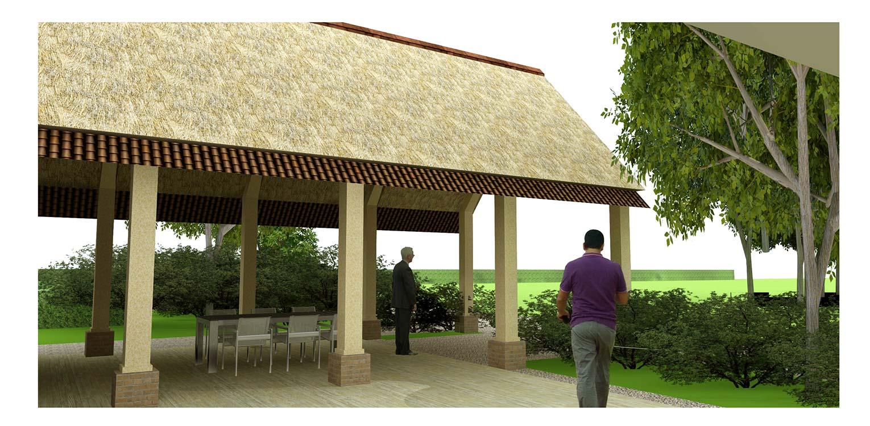 3D overdekt terras boerderijtuin Loo. Deze klassieker, huize valkenhof uit het landelijke Loo wordt met de tuin na een periode van leegstand gerehabiliteerd. denkers in Tuinen