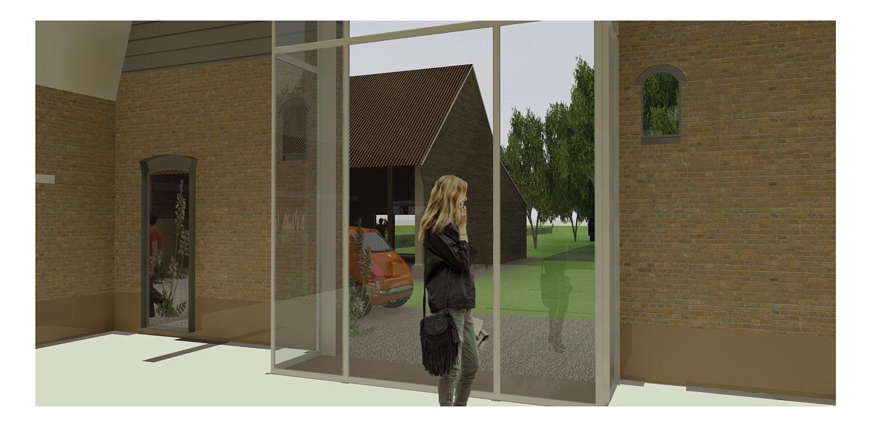 3D zicht van binnenuit boerderijtuin Loo. Deze klassieker, huize valkenhof uit het landelijke Loo wordt met de tuin na een periode van leegstand gerehabiliteerd. denkers in Tuinen
