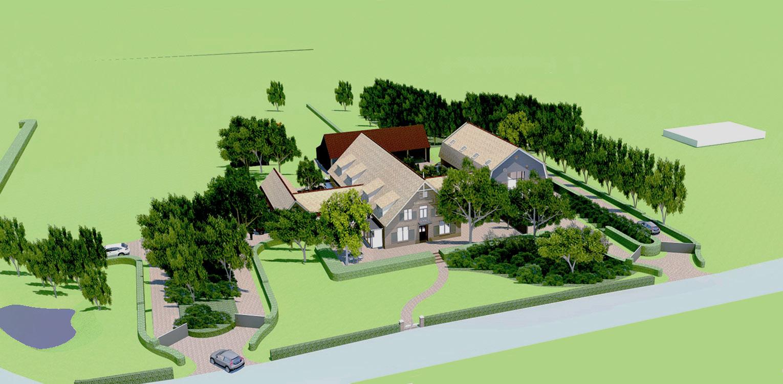3D vogelvlucht boerderijtuin Loo. Deze klassieker, huize valkenhof uit het landelijke Loo wordt met de tuin na een periode van leegstand gerehabiliteerd. denkers in Tuinen