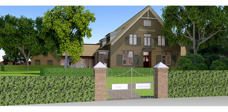 3D entreezijde boerderijtuin Loo. Deze klassieker, huize valkenhof uit het landelijke Loo wordt met de tuin na een periode van leegstand gerehabiliteerd. denkers in Tuinen