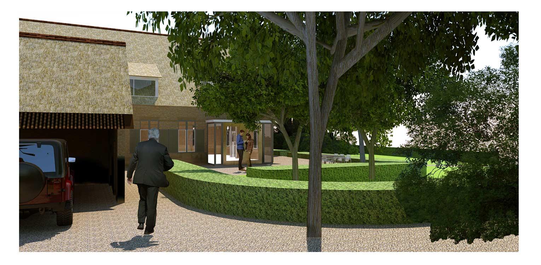 3D zijaanzicht boerderijtuin Loo. Deze klassieker, huize valkenhof uit het landelijke Loo wordt met de tuin na een periode van leegstand gerehabiliteerd. denkers in Tuinen
