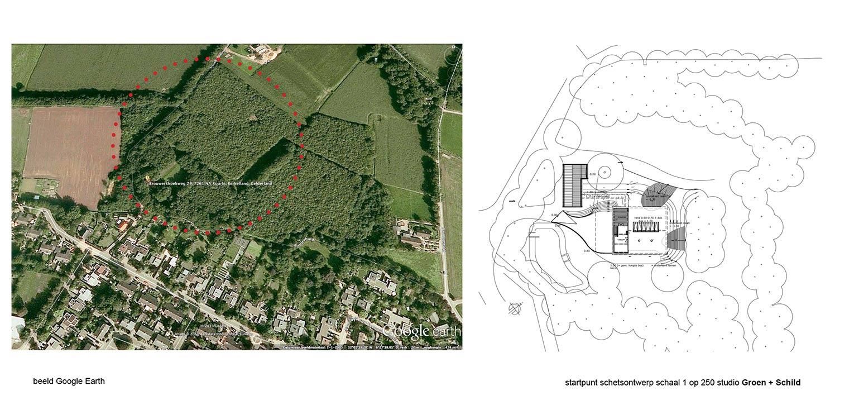 bostuin Ruurlo op Google Earth waar een reinwaterkelder een woonfunctie krijgt en het geheel in het omliggende bosgebied verankerd wordt met van nature voorkomende planten Denkers in Tuinen