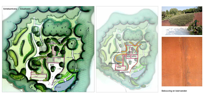 keerwanden bostuin Ruurlo waar een reinwaterkelder een woonfunctie krijgt en het geheel in het omliggende bosgebied verankerd wordt met van nature voorkomende planten Denkers in Tuinen