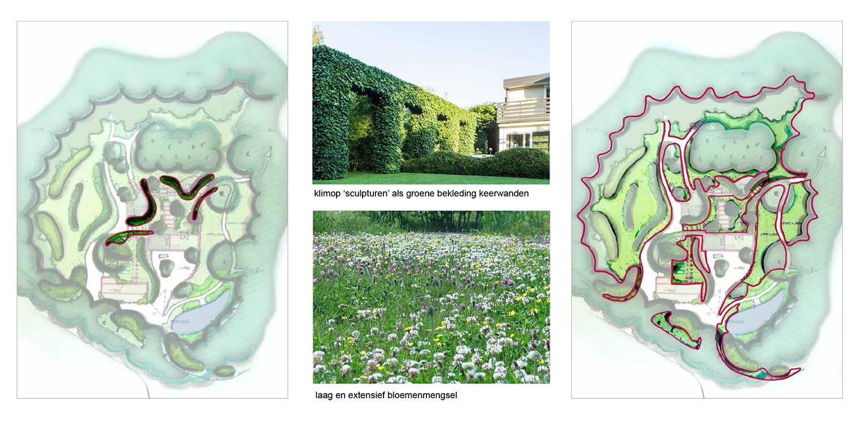 wanden klimop bostuin Ruurlo waar een reinwaterkelder een woonfunctie krijgt en het geheel in het omliggende bosgebied verankerd wordt met van nature voorkomende planten Denkers in Tuinen