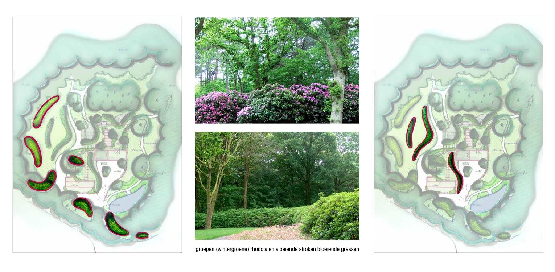 aanplant rhodowallen en grassenstroken bostuin Ruurlo waar een reinwaterkelder een woonfunctie krijgt en het geheel in het omliggende bosgebied verankerd wordt met van nature voorkomende planten Denkers in Tuinen