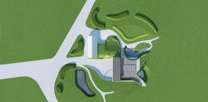 3D bovenaanzicht bostuin Ruurlo waar een reinwaterkelder een woonfunctie krijgt en het geheel in het omliggende bosgebied verankerd wordt met van nature voorkomende planten Denkers in Tuinen