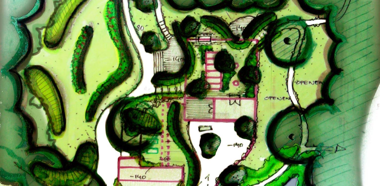 schetsontwerp bostuin Ruurlo waar een reinwaterkelder een woonfunctie krijgt en het geheel in het omliggende bosgebied verankerd wordt met van nature voorkomende planten Denkers in Tuinen