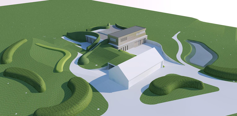 3D vogelvlucht bostuin Ruurlo waar een reinwaterkelder een woonfunctie krijgt en het geheel in het omliggende bosgebied verankerd wordt met van nature voorkomende planten Denkers in Tuinen