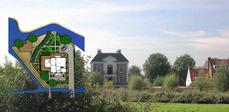 schetsontwerp landschappelijke tuin Sloten waar de sfeer van het achterliggend natuurpark tot ver in de tuin voelbaar is naast veel bloemrijke borders Denkers in Tuinen.