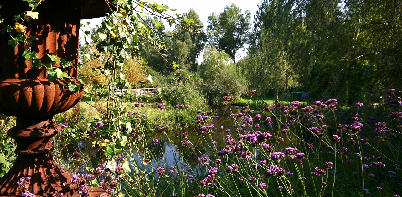 landschappelijke tuin Sloten waar de sfeer van het achterliggend natuurpark tot ver in de tuin voelbaar is naast veel bloemrijke borders (Verbena) Denkers in Tuinen.