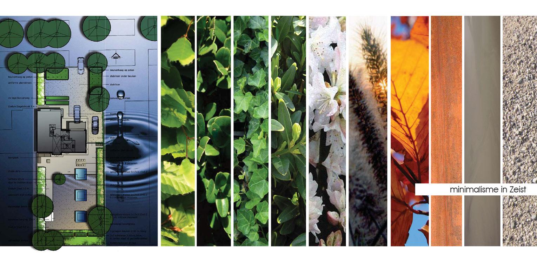 materiaalgebruik stadstuin Zeist waar minimalisme uitgangspunt is voor het tuinontwerp. Gevlinderd beton, strakke waterbakken en groene vlakken ronden af Denkers in Tuinen.