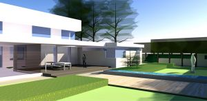 3D achtertuin en verhoogde waterloop villatuin Didam waar het tuinontwerp geheel in lijn is met de architectuur van de woning met kenmerkende veranda, vlonder en waterloop Denkers in Tuinen.