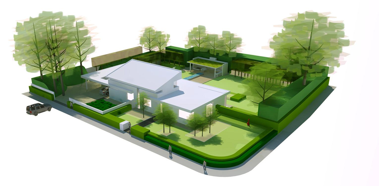 3D vogelvlucht villatuin Didam waar het tuinontwerp geheel in lijn is met de architectuur van de woning met kenmerkende veranda, vlonder en waterloop Denkers in Tuinen.