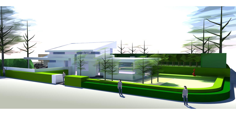3D straataanzicht villatuin Didam waar het tuinontwerp geheel in lijn is met de architectuur van de woning met kenmerkende veranda, vlonder en waterloop Denkers in Tuinen.