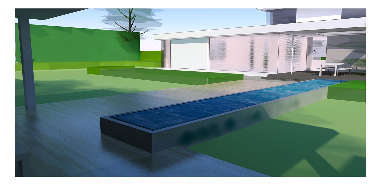 3D vlonderterras en verhoogde waterloop villatuin Didam waar het tuinontwerp geheel in lijn is met de architectuur van de woning met kenmerkende veranda, vlonder en waterloop Denkers in Tuinen.