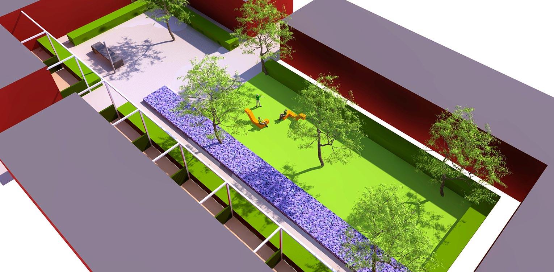 tuinontwerp binnentuin Dennenkamp Apeldoorn waar een lange strip prairiebeplanting het tamelijk kleurloos en weinig vitale binnenterrein omgevormd heeft naar een uitbundig en kleurrijk geheel - Denkers inTuinen
