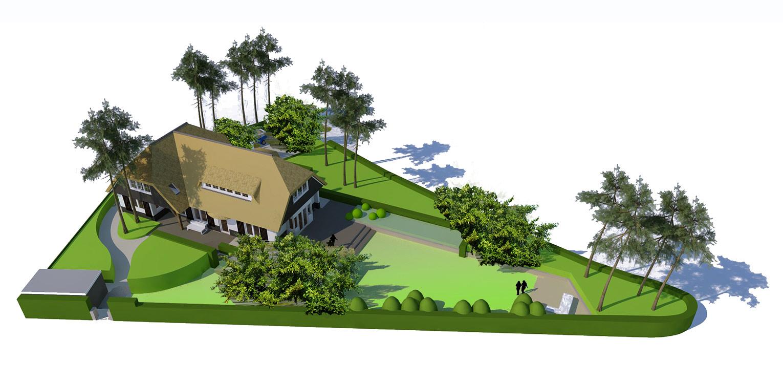 tuinontwerp villatuin Aerdenhout waar de tuin in gelijke (bos)sfeer met de strakke renovatie van de woning is getrokken- Denkers in Tuinen