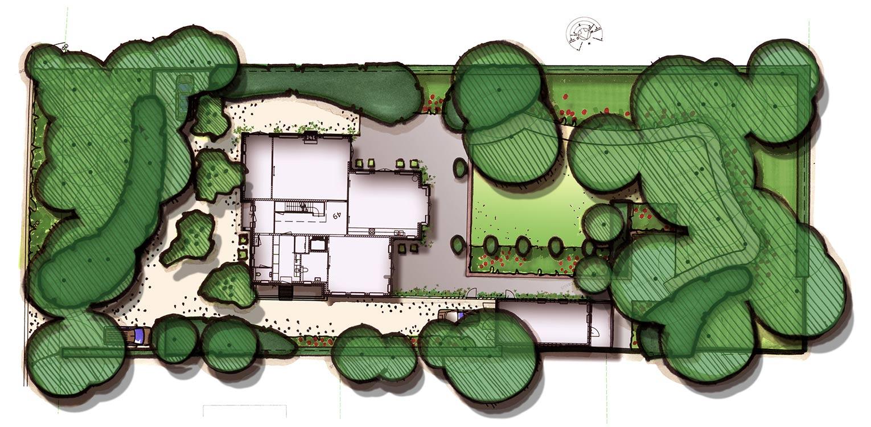 tuinontwerp villatuin Bilthoven - door gericht gebruik van laurier 'blobs' wordt op een boskavel een overgangsgebied tussen openbaar en privé gecreëerd - Denkers inTuinen