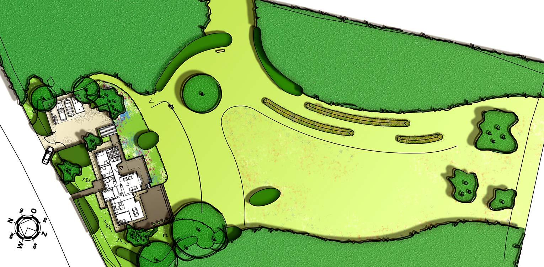 tuinontwerp villatuin Holten. De doorMaas architecten nieuw aangebrachte openheid is 1 op 1 in het tuinontwerp doorgetrokken - Denkers in Tuinen.