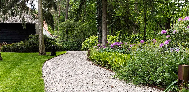 rhododendron groepen in villatuin Apeldoorn waar nadrukkelijk aansluiting is gezocht met de direct naastgelegen bossfeer van de Hoge Veluwe - Denkers in Tuinen