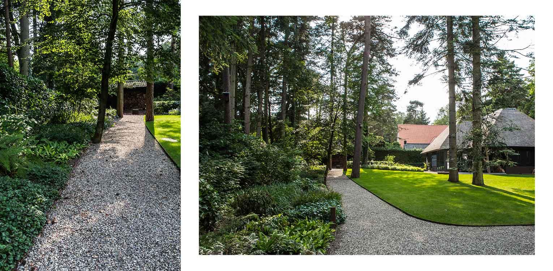 grindpaden villatuin Apeldoorn waar nadrukkelijk aansluiting is gezocht met de direct naastgelegen bossfeer van de Hoge Veluwe - Denkers in Tuinen