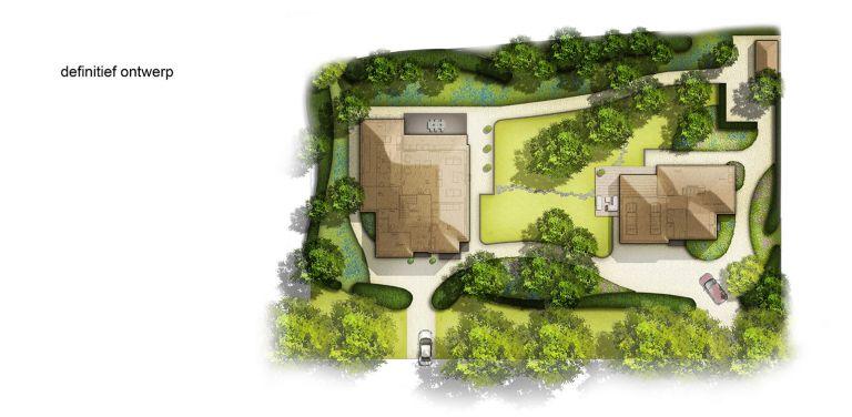 definitief ontwerp tuinplan villatuin Apeldoorn waar nadrukkelijk aansluiting is gezocht met de direct naastgelegen bossfeer van de Hoge Veluwe - Denkers in Tuinen
