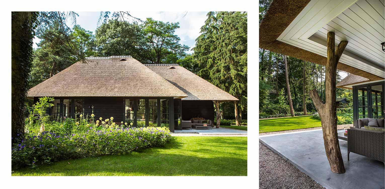 gastenverblijf villatuin Apeldoorn waar nadrukkelijk aansluiting is gezocht met de direct naastgelegen bossfeer van de Hoge Veluwe - Denkers in Tuinen